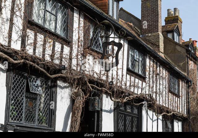 Mermaid Inn Sign, Mermaid Street, Rye, East Sussex - Stock Image