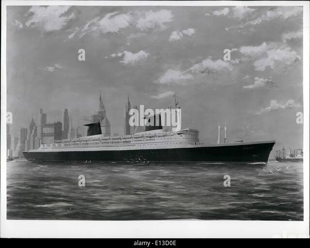 Mar. 22, 2012 - An artist's impression of the s.s. ''France'' - longest ship in the world 1,035 - Stock Image