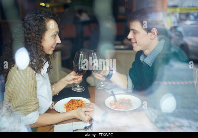 Spending time in restaurant - Stock-Bilder