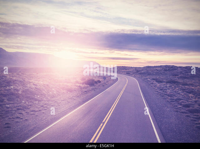 Vintage picture of famous road, Route 40, Patagonia, southern Argentina. - Stock Image
