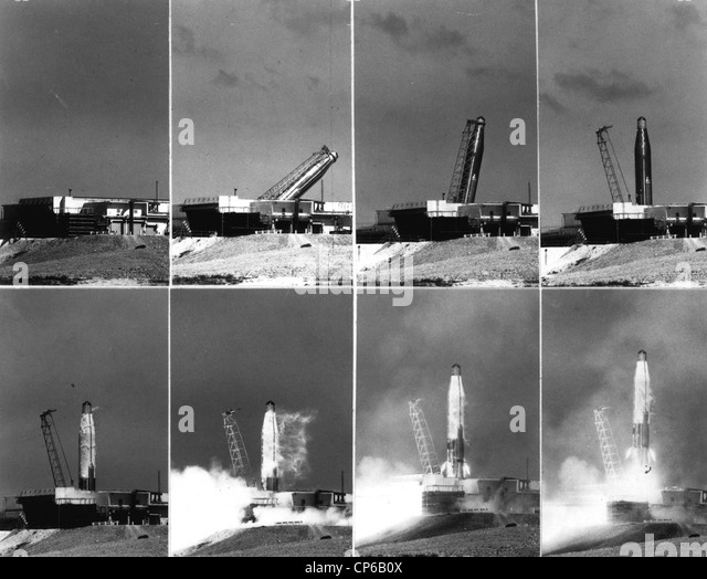 Atlas D #25D ICBM is shown in a sequence of images being erected and launched. - Stock Image