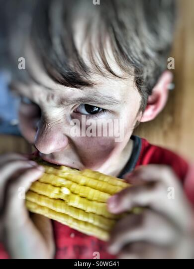 Boy eating corn on the cob - Stock Image