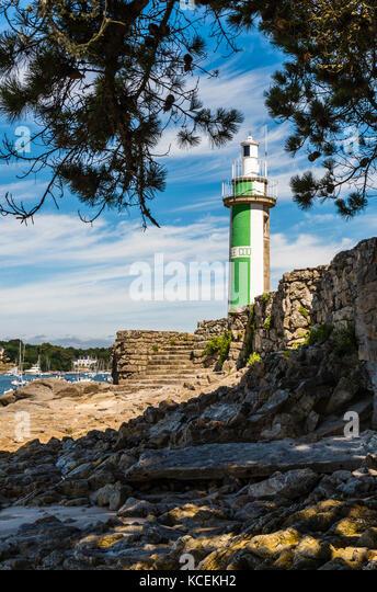 Lighthouse at Benodet, Brittany, France - Stock Image