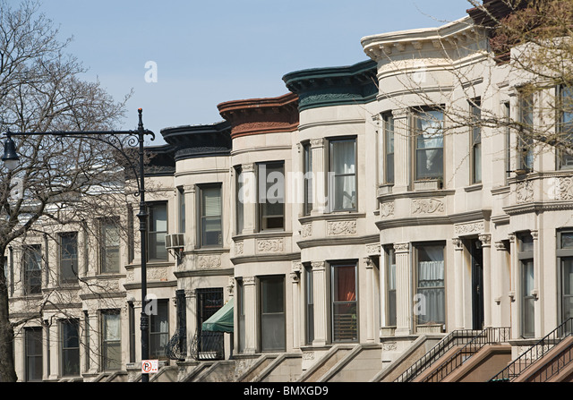 Houses in park slope in brooklyn - Stock Image