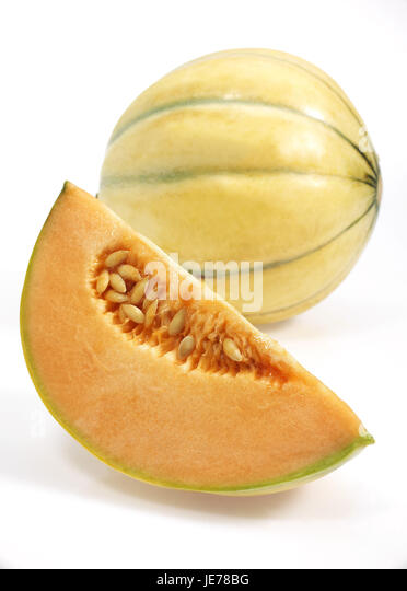 Yellow Canary honeydew melons, also yellow honeydew melon, Amarillo, Tendral Amarillo, sugar melon, Cucumis Melo, - Stock Image
