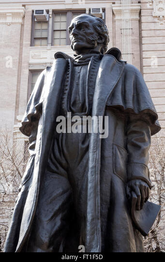 Hero for independence in Uruguay, Gen. Jose Gervasio Artigas, a statue on Sixth Avenue in Lower Manhattan - Stock Image