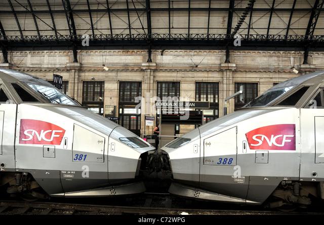 TGV train, Bordeaux Saint-Jean railway station, Bordeaux ,France - Stock Image