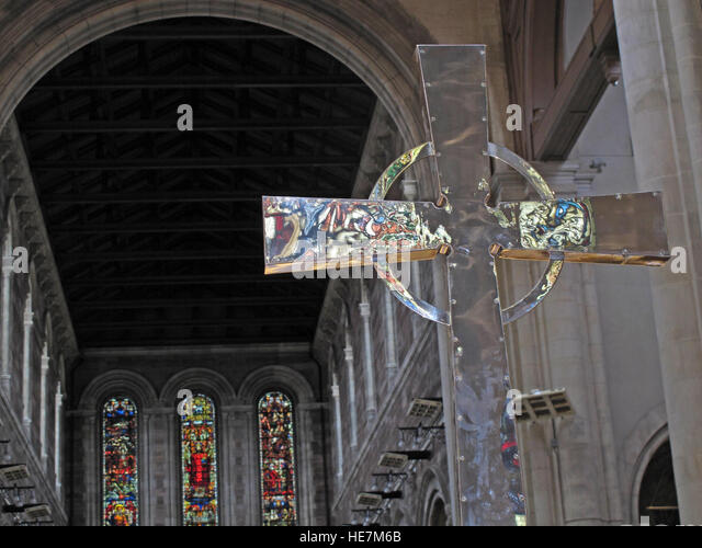 St Annes Belfast Cathedral Interior,silver cross with reflections - Stock Image