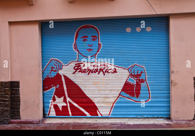 Pro-independence painting on a wall in Old San Juan, Puerto Rico - Stock Image