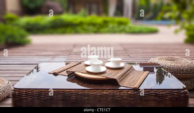 Summer terrace, selective soft focus - Stock Image