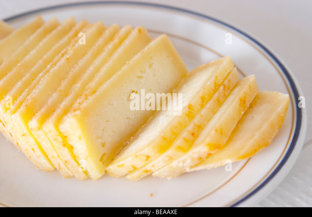cheese on a plate in a restaurant borba alentejo portugal - Stock Image
