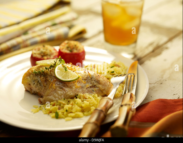 chicken and rice - Stock Image
