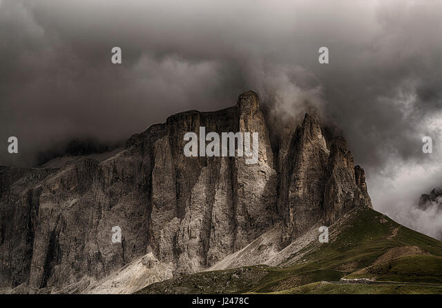 Storm formation over the top of Sella Towers in summer season, danger for mountain climbing - Trentino-Alto Adige, - Stock Image