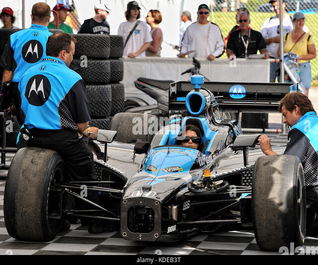 Danica Patrick sits in her Motorola sponsored Indy Car while driving for Andretti Racing Green, at the 2008 Honda - Stock Image
