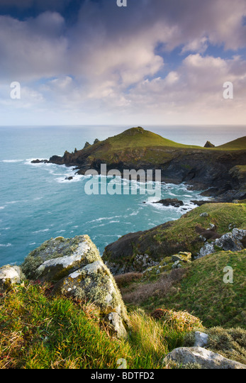 Rumps Point from Pentire Head, Cornwall, England. Spring (April) 2009 - Stock-Bilder