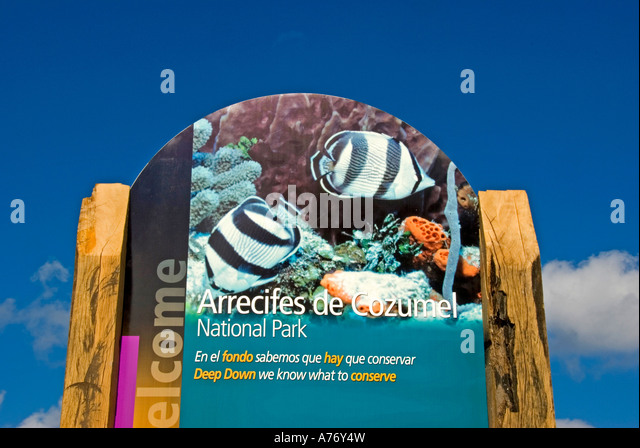 Cozumel Mexico San Miguel town malecon  national park sign - Stock Image