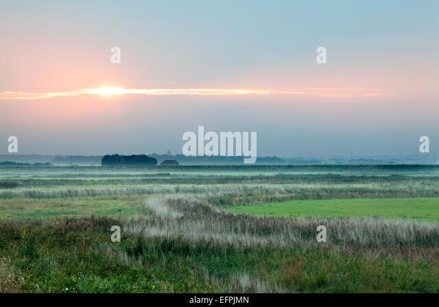 Sunset at Aldeburgh Marshes, Suffolk, England, United Kingdom, Europe - Stock Image