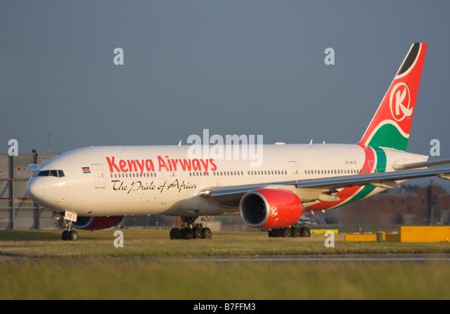 Kenya Airways Boeing 777-2U8/ER taxiing for departure at London Heathrow airport. - Stock Image