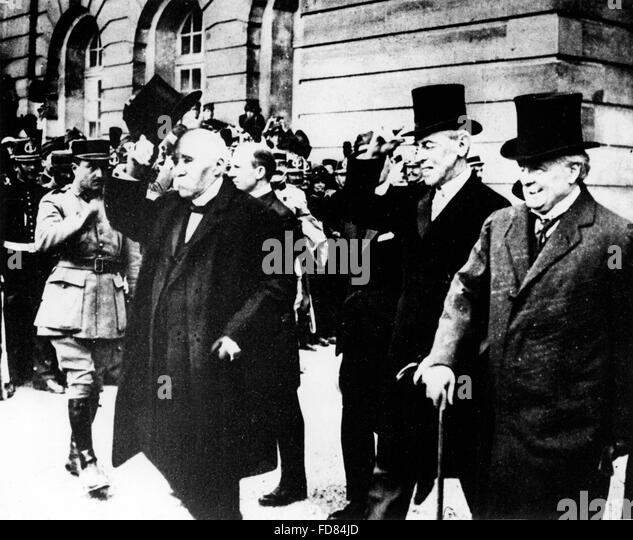 Georges Clemenceau, Woodrow Wilson and  Lloyd George, 1919 - Stock Image