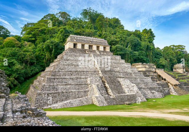 Palenque Archaeological Site - Temple of Inscriptions, Maya Ruins, Mexico, UNESCO - Stock Image