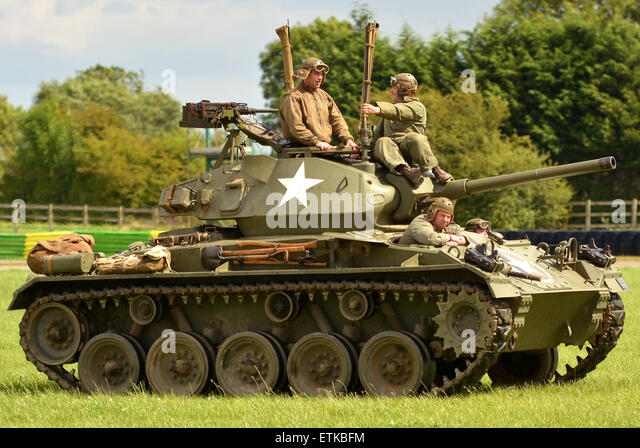 World War Two American Chaffee Tank and crew, World War Two tank display at the Croft Nostalgia Festival in Darlington - Stock Image