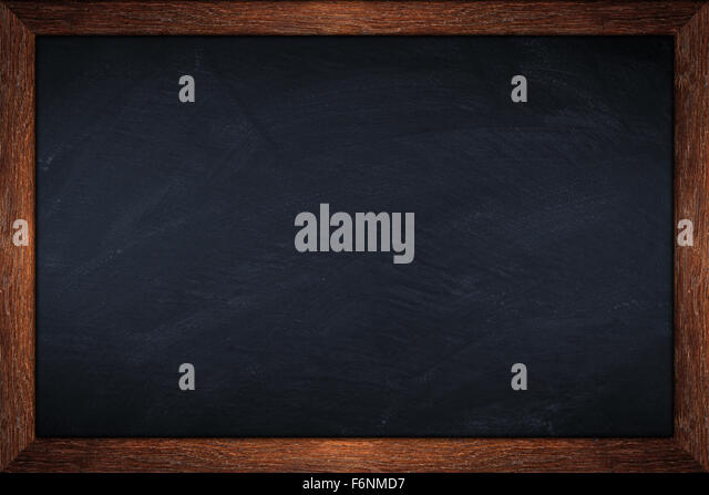blackboard with wooden old oak frame - Stock Image