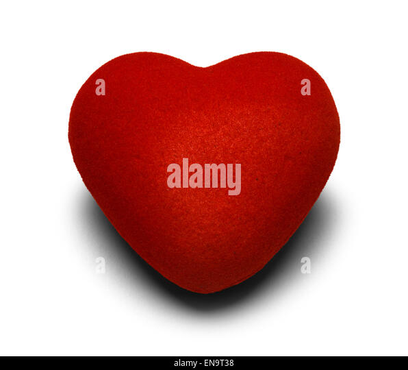 Red Fabric Heart Isolated on White Background. - Stock Image