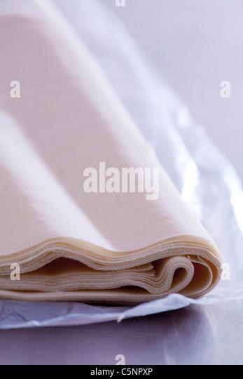 Raw filo pastry - Stock Image