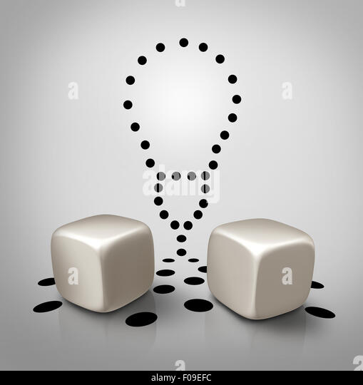 Venture idea and invention icon dice concept with spots in a light bulb shape as a creative business symbol for - Stock-Bilder