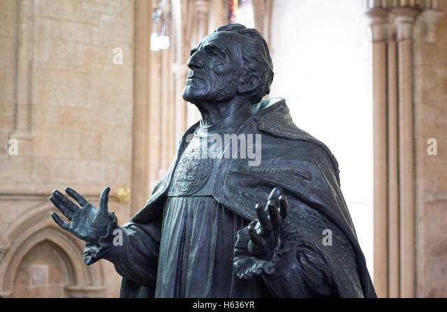The Statue of George Ridding D D First Bishop of Southwell 18884 - 1904 inside Southwell Minister - Stock Image