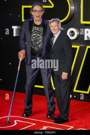 London, UK. 16th December, 2015. Peter Mayhew, Harrison Ford Actors Star Wars; The Force Awakens, European Premiere - Stock Image