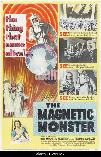 The Magnetic Monster (1953) directed by Curt Siodmak and starring Richard Carlson, King Donovan, and Jean Byron. - Stock Image