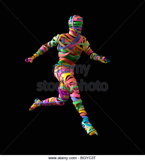 Person made up of rubber bands - Stock Image