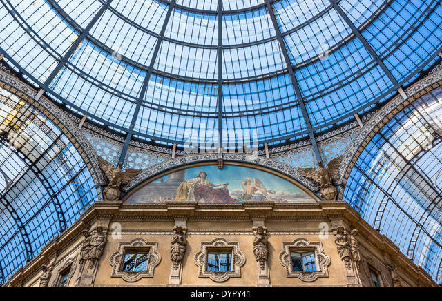 Milan, Italy. 23rd Apr, 2014. the glass roofed arcade of Vittorio Emanuele gallery Credit:  Realy Easy Star/Alamy - Stock Image