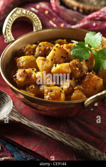 Bombay potatoes Indian Food - Stock Image