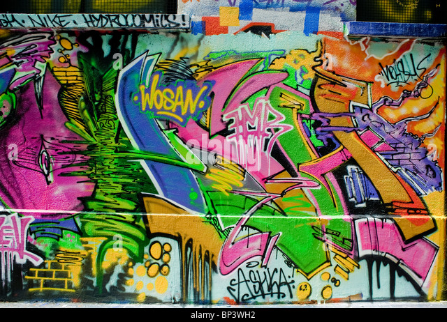 Paris, France, Abstract Painting Wall Graffiti - Stock Image