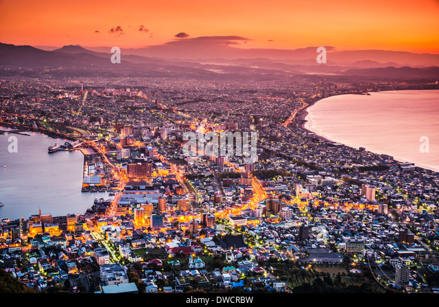 Hakodate, Japan city skyline viewed at sunrise. - Stock-Bilder