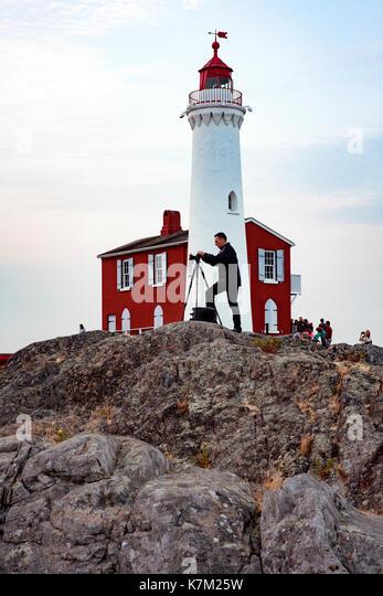 Photographer at Fisgard Lighthouse, Victoria, Vancouver Island, British Columbia, Canada - Stock Image