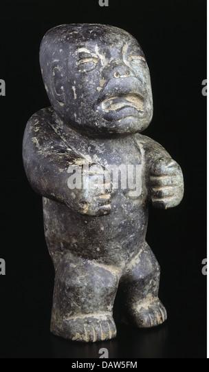 fine arts, Mesoamerica, stone figure, unknown exact origin, Mexico, 1st - 9th century AD, stone figurine, stone, - Stock Image