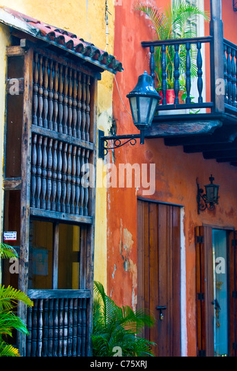 The architecture of 'Cartagena de indias' Colombia - Stock Image