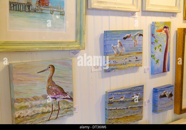 Florida Sanibel Captiva Island art gallery paintings sea birds - Stock Image