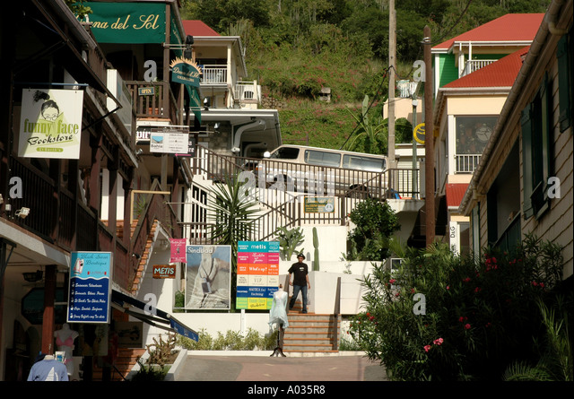 St Barths gustavia stores shops downtown - Stock Image