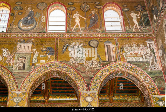 Byzantine mosaics, God rests, God leads Adam into earthly paradise, below the Tower of Babel, Abraham meets the - Stock Image