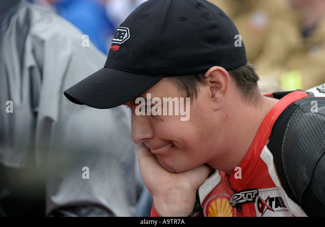 John McGuinness on the grid at the North West 200 Road Races NW200 Northern Ireland - Stock Image