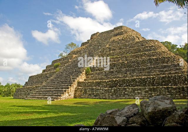 Costa Maya Mexico Chacchoben Mayan Temple Pyramid Edifice 24 - Stock Image