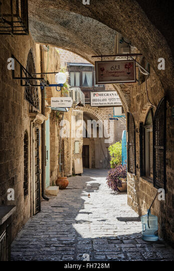 cobbled street in yafo jaffa old town area of tel aviv israel - Stock Image