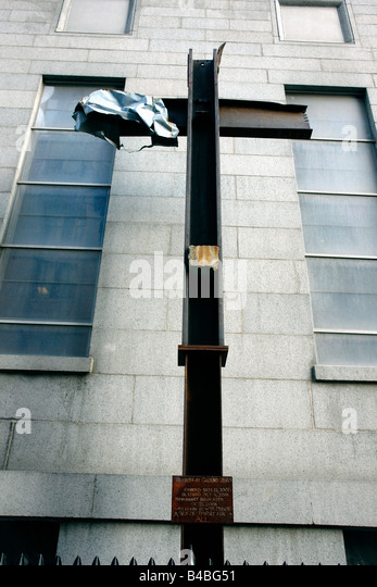 Cross at Ground Zero Site of the World Trade Center Twin Towers on September 11 2008 7th anniversary of the terrorist - Stock Image