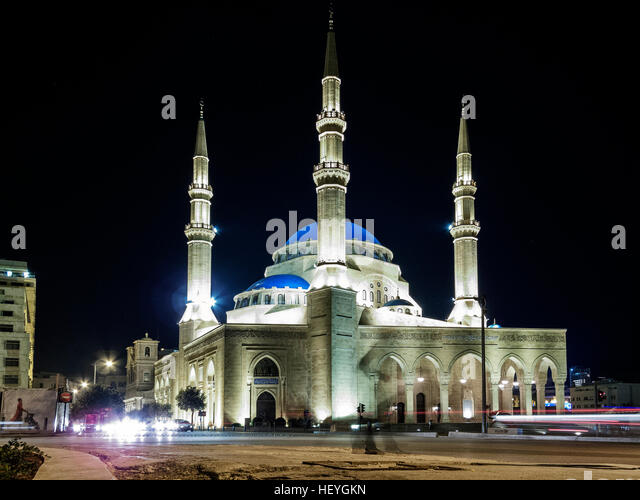 Mohammad Al Amin Mosque landmark in central Beirut city lebanon at night - Stock Image