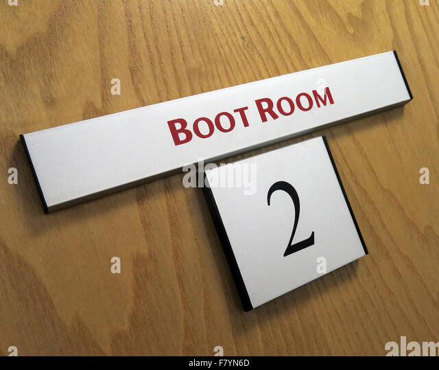Manchester United Boot Room Door, Old Trafford, Stretford, England, UK - Stock Image