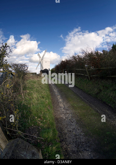Jill windmill on the South Downs near Clayton, Sussex, UK - Stock Image